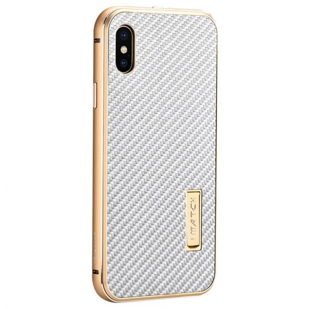 Gold&Silver Metal Aluminum Hard Bumper Carbon Fiber Shockproof Case For iPhone X