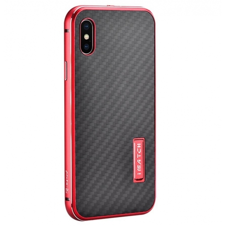 Red&Black Metal Aluminum Hard Bumper Carbon Fiber Shockproof Case For iPhone X