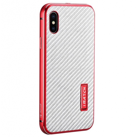 Red&Silver Metal Aluminum Hard Bumper Carbon Fiber Shockproof Case For iPhone X