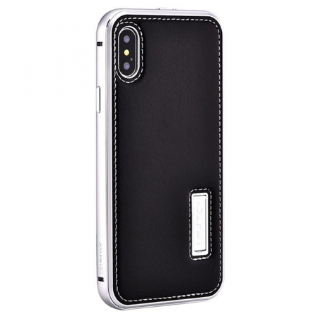 Silver&Black Aluminum Metal Genuine Leather Case For iPhone X