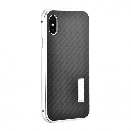 Silver&Black Metal Aluminum Hard Bumper Carbon Fiber Shockproof Case For iPhone X