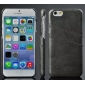 Black Luxury Oil Wax PU Leather Back Cover Card Holder Case For iPhone 6 Plus 5.5 Inch