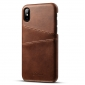 Coffee Luxury Leather Card Slots Case Back Cover for iPhone X
