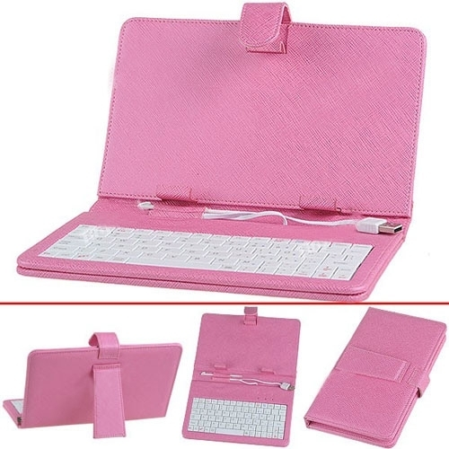USB Keyboard and Protective Leather Case for 7 inch Tablet PC - Pink
