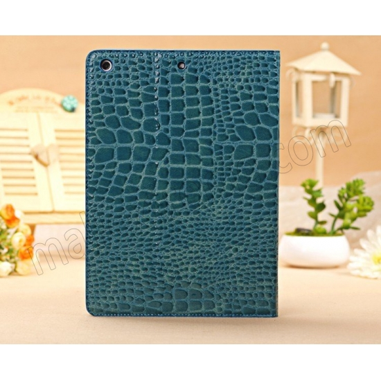 top quality Luxury Crocodile Pattern Flip Leather Stand Case for iPad Air - Blue