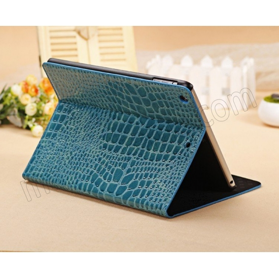 wholesale Luxury Crocodile Pattern Flip Leather Stand Case for iPad Air - Blue