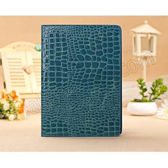 cheap Luxury Crocodile Pattern Flip Leather Stand Case for iPad Air - Blue