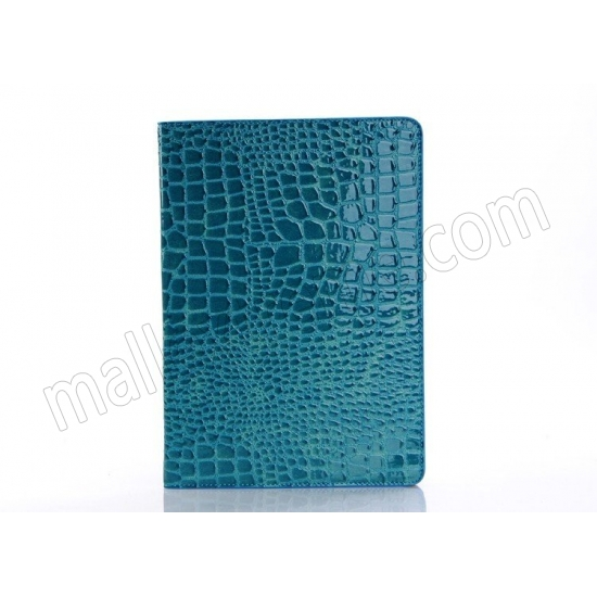 discount Luxury Crocodile Pattern Flip Leather Stand Case for iPad Air - Blue