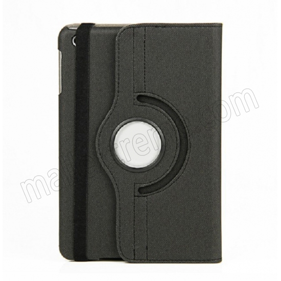 wholesale 360 Degree Rotary Flip Stand Leather Case for iPad Mini 2 With Reina display - Black