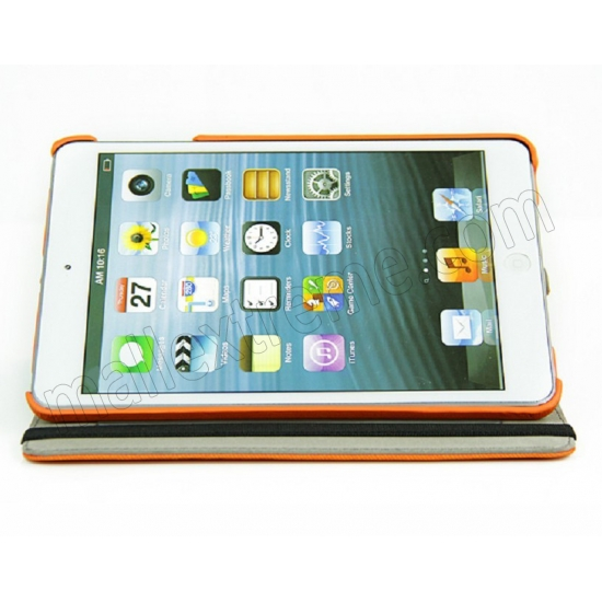 cheap 360 Degree Rotary Flip Stand Leather Case for iPad Mini 2 With Reina display - Orange