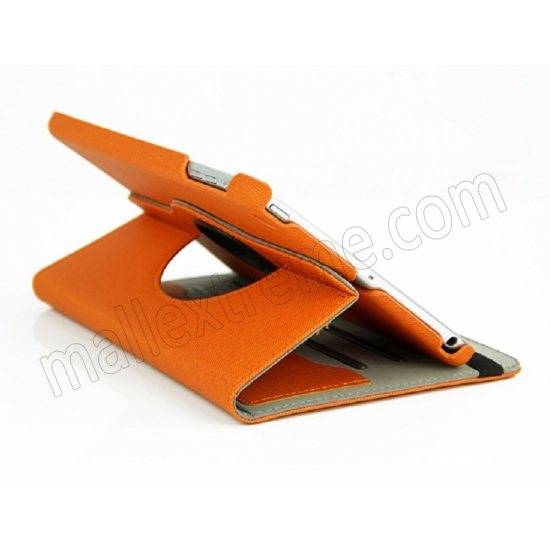 best price 360 Degree Rotary Flip Stand Leather Case for iPad Mini 2 With Reina display - Orange