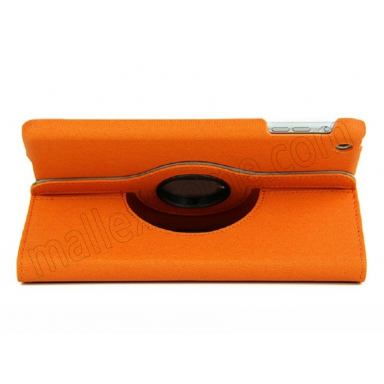 top quality 360 Degree Rotary Flip Stand Leather Case for iPad Mini 2 With Reina display - Orange