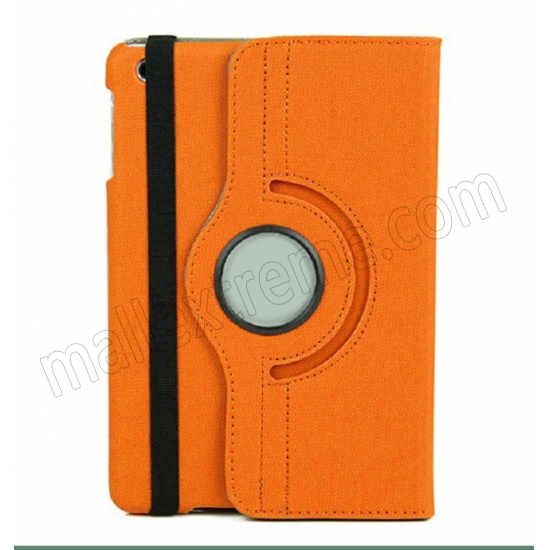 wholesale 360 Degree Rotary Flip Stand Leather Case for iPad Mini 2 With Reina display - Orange