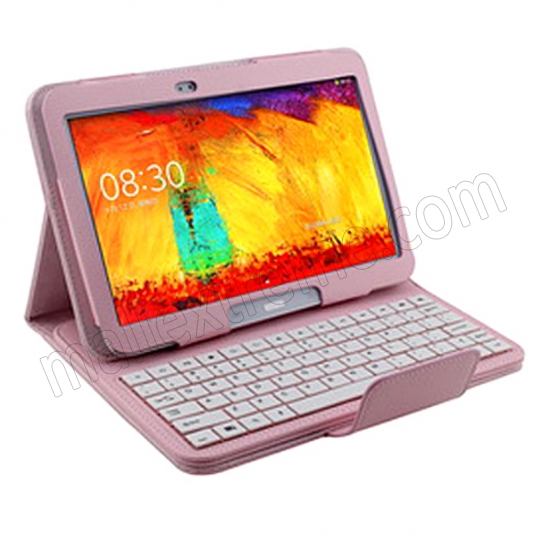 discount Wireless Bluetooth Keyboard Stand Case for Samsung Galaxy Note 10.1 2014 Edition P600 - Pink