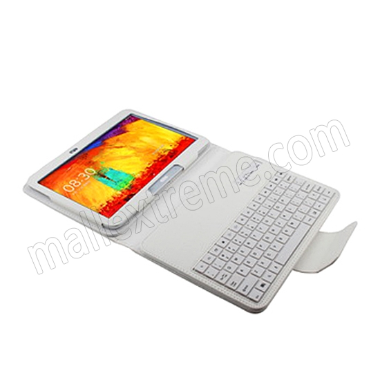 cheap Wireless Bluetooth Keyboard Stand Case for Samsung Galaxy Note 10.1 2014 Edition P600 - White