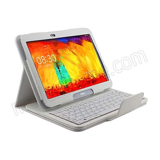 discount Wireless Bluetooth Keyboard Stand Case for Samsung Galaxy Note 10.1 2014 Edition P600 - White