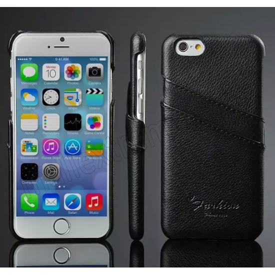 wholesale Black 100% Real Genuine Card Leather Hard Back Case Cover For Apple iPhone 6 Plus/6S Plus 5.5