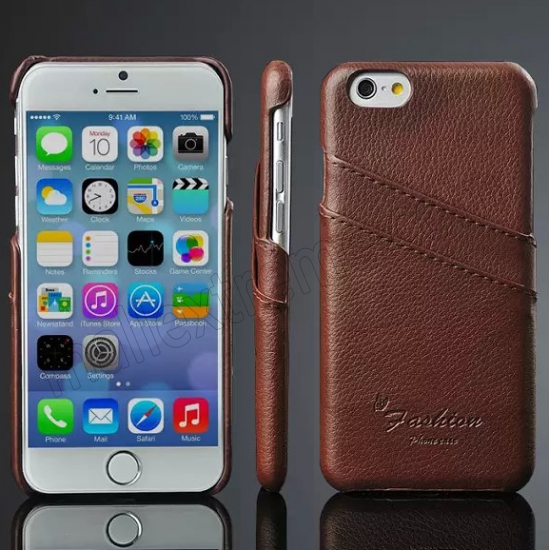 wholesale Brown 100% Real Genuine Card Leather Hard Back Case Cover For Apple iPhone 6 Plus/6S Plus 5.5