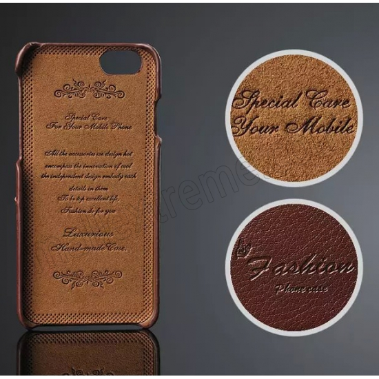 discount Brown 100% Real Genuine Card Leather Hard Back Case Cover For Apple iPhone 6 Plus/6S Plus 5.5