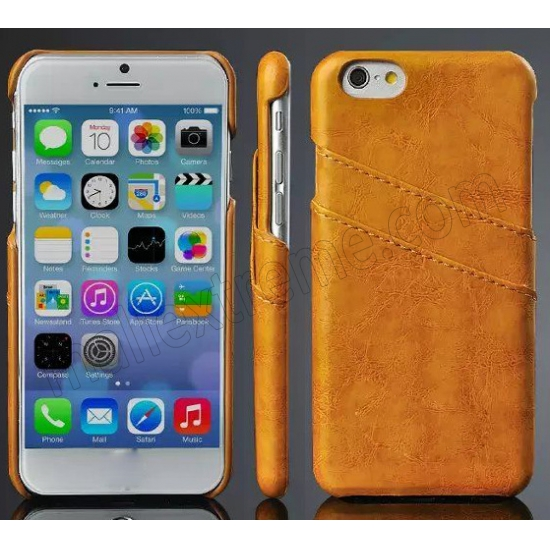 wholesale Orange Luxury Oil Wax PU Leather Back Cover Card Holder Case For iPhone 6 Plus/6S Plus 5.5 Inch