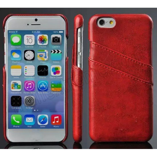 wholesale Red Luxury Oil Wax PU Leather Back Cover Card Holder Case For iPhone 6 Plus/6S Plus 5.5 Inch