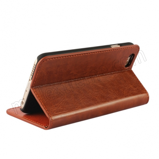 cheap Brown Crazy Horse Grain Wallet Genuine Leather Stand Case for iPhone 6 Plus/6S Plus 5.5 inch