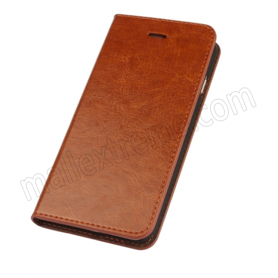 discount Brown Crazy Horse Grain Wallet Genuine Leather Stand Case for iPhone 6 Plus/6S Plus 5.5 inch