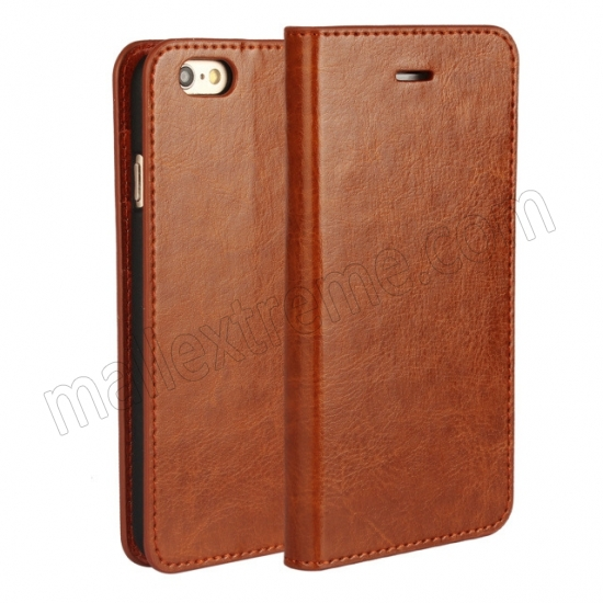 wholesale Brown Crazy Horse Grain Wallet Genuine Leather Stand Case for iPhone 6 Plus/6S Plus 5.5 inch