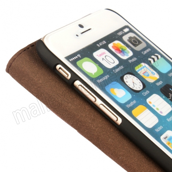 on sale Brown Crazy Horse Grain Wallet Genuine Leather Stand Case for iPhone 6 Plus/6S Plus 5.5 inch