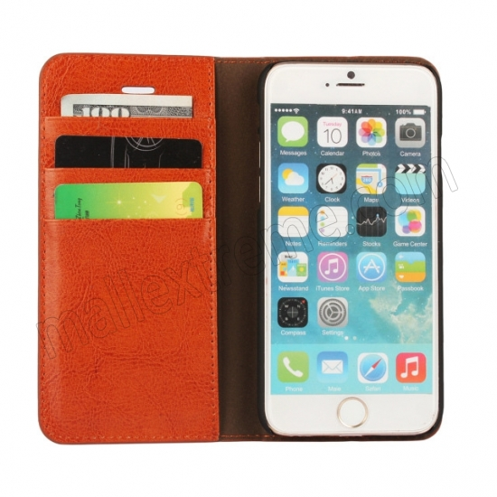 top quality Brown Crazy Horse Grain Wallet Genuine Leather Stand Case for iPhone 6 Plus/6S Plus 5.5 inch