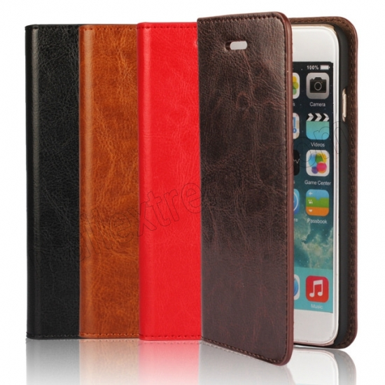 low price Brown Crazy Horse Grain Wallet Genuine Leather Stand Case for iPhone 6 Plus/6S Plus 5.5 inch