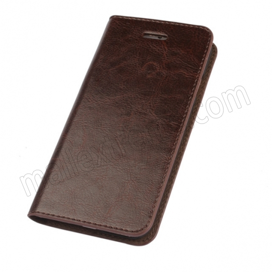 discount Coffee Crazy Horse Grain Wallet Genuine Leather Stand Case for iPhone 6 Plus/6S Plus 5.5 inch
