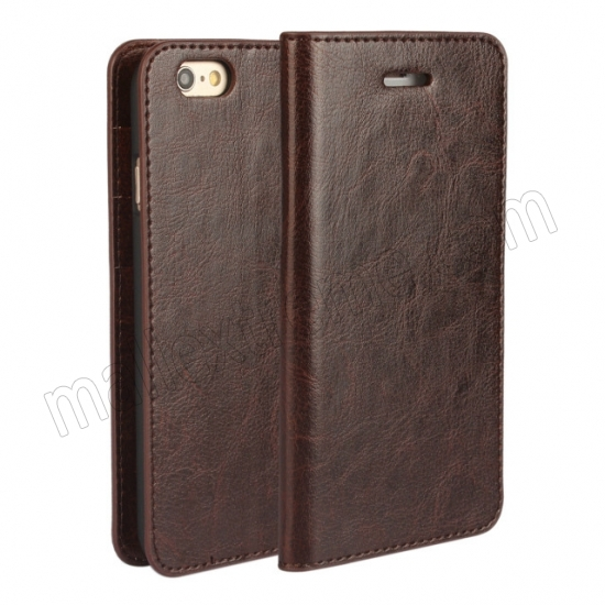 wholesale Coffee Crazy Horse Grain Wallet Genuine Leather Stand Case for iPhone 6 Plus/6S Plus 5.5 inch