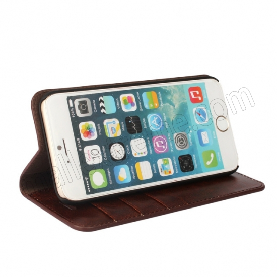 best price Coffee Crazy Horse Grain Wallet Genuine Leather Stand Case for iPhone 6 Plus/6S Plus 5.5 inch