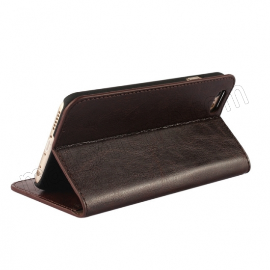 top quality Coffee Crazy Horse Grain Wallet Genuine Leather Stand Case for iPhone 6 Plus/6S Plus 5.5 inch