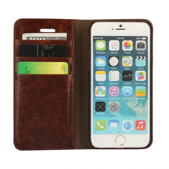 on sale Coffee Crazy Horse Grain Wallet Genuine Leather Stand Case for iPhone 6 Plus/6S Plus 5.5 inch