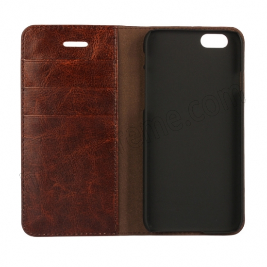 low price Coffee Crazy Horse Grain Wallet Genuine Leather Stand Case for iPhone 6 Plus/6S Plus 5.5 inch