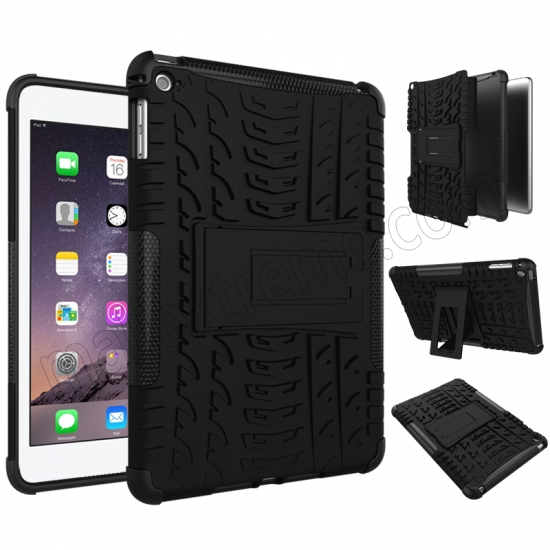 discount Black 2 In 1 Pattern Shockproof Silicone and PC Hybrid Case for iPad Mini 4