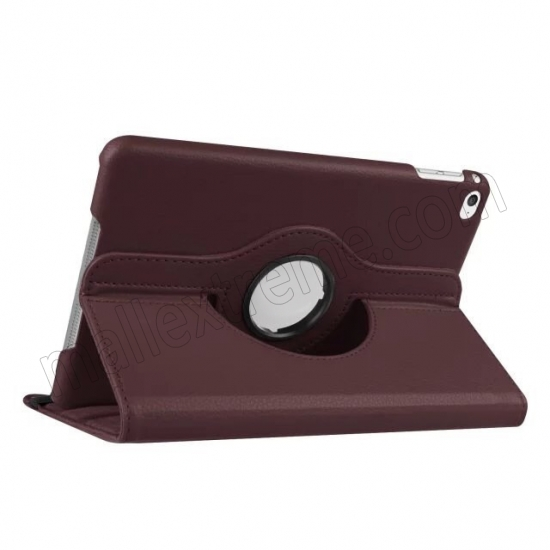 wholesale Brown 360 Degrees Rotating Stand PU Leather Smart Case Cover for Apple iPad mini 4