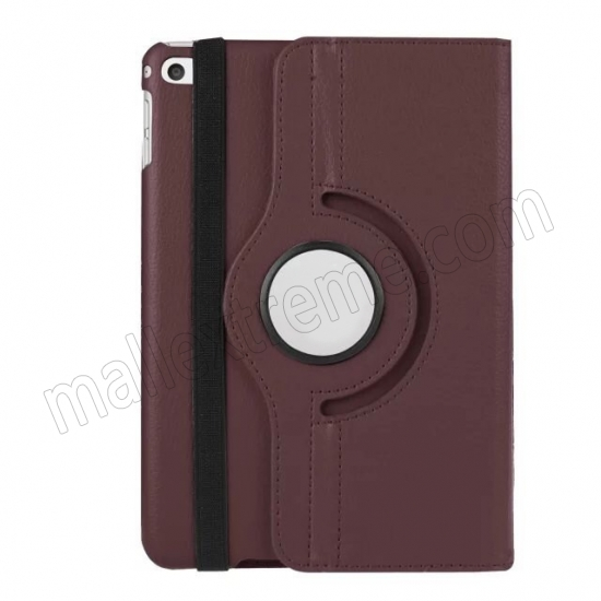 best price Brown 360 Degrees Rotating Stand PU Leather Smart Case Cover for Apple iPad mini 4