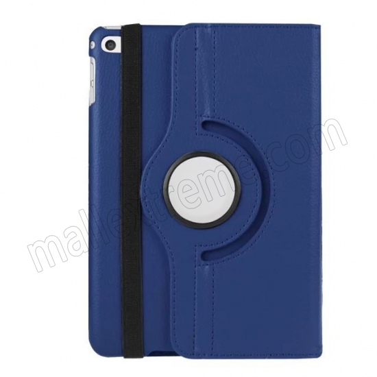 best price Dark blue 360 Degrees Rotating Stand PU Leather Smart Case Cover for Apple iPad mini 4