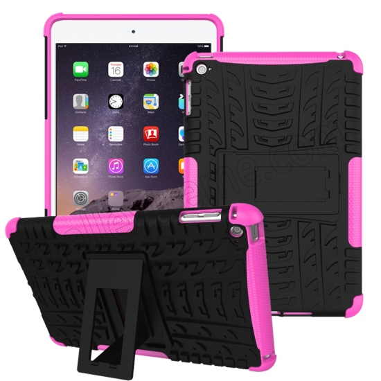 wholesale Hot pink 2 In 1 Pattern Shockproof Silicone and PC Hybrid Case for iPad Mini 4