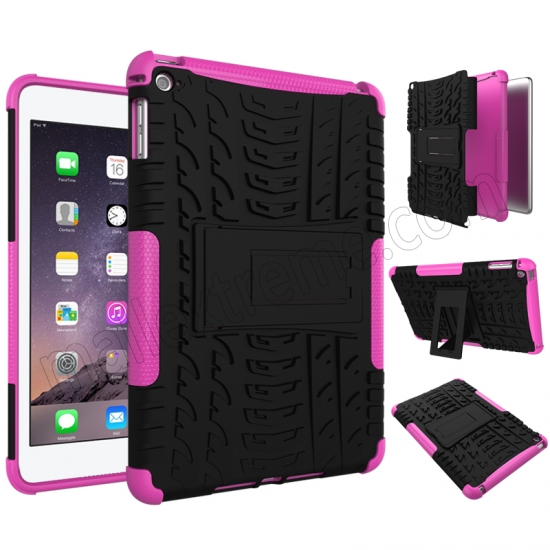 discount Hot pink 2 In 1 Pattern Shockproof Silicone and PC Hybrid Case for iPad Mini 4