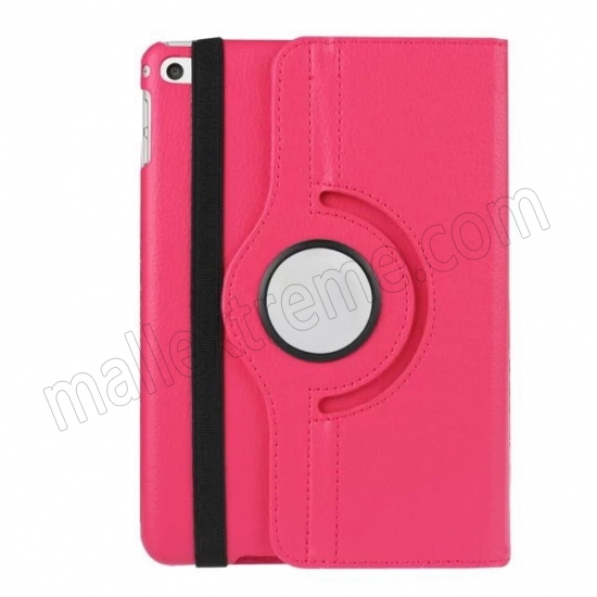 best price Hot pink 360 Degrees Rotating Stand PU Leather Smart Case Cover for Apple iPad mini 4