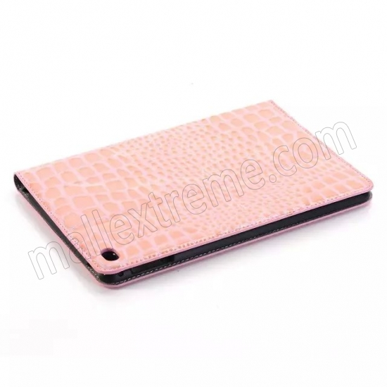 discount Pink New Crocodile Wallet Leather Case Cover with Stand For Apple iPad mini 4