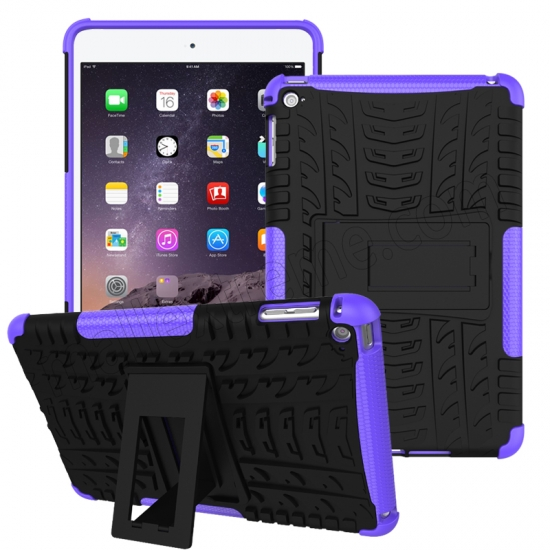 wholesale Purple 2 In 1 Pattern Shockproof Silicone and PC Hybrid Case for iPad Mini 4