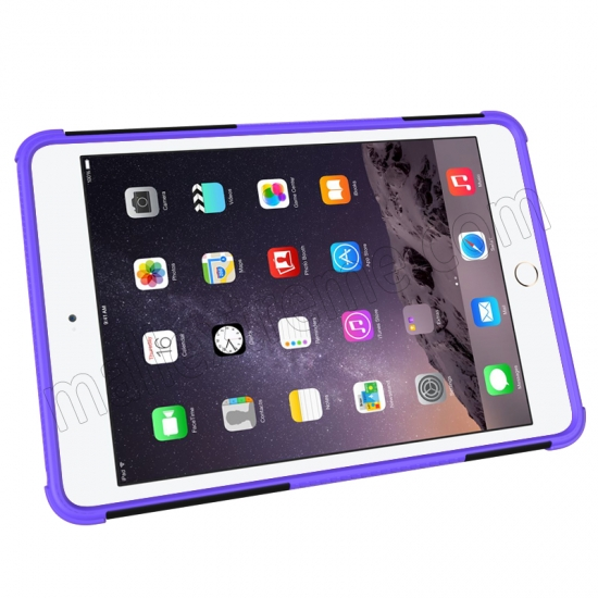 cheap Purple 2 In 1 Pattern Shockproof Silicone and PC Hybrid Case for iPad Mini 4