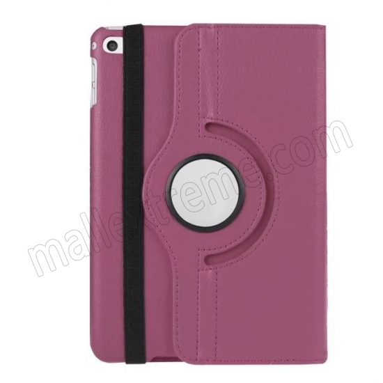 top quality Purple 360 Degrees Rotating Stand PU Leather Smart Case Cover for Apple iPad mini 4
