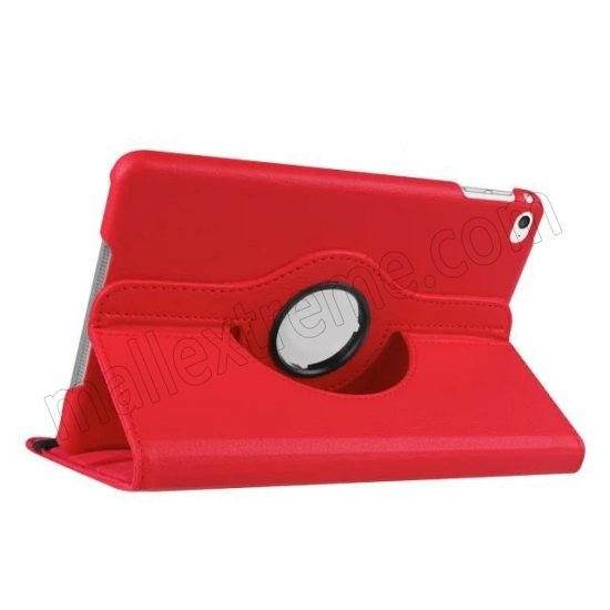 wholesale Red 360 Degrees Rotating Stand PU Leather Smart Case Cover for Apple iPad mini 4