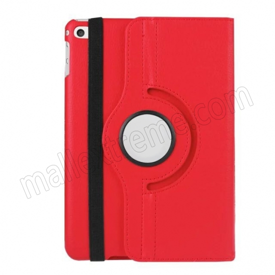 best price Red 360 Degrees Rotating Stand PU Leather Smart Case Cover for Apple iPad mini 4